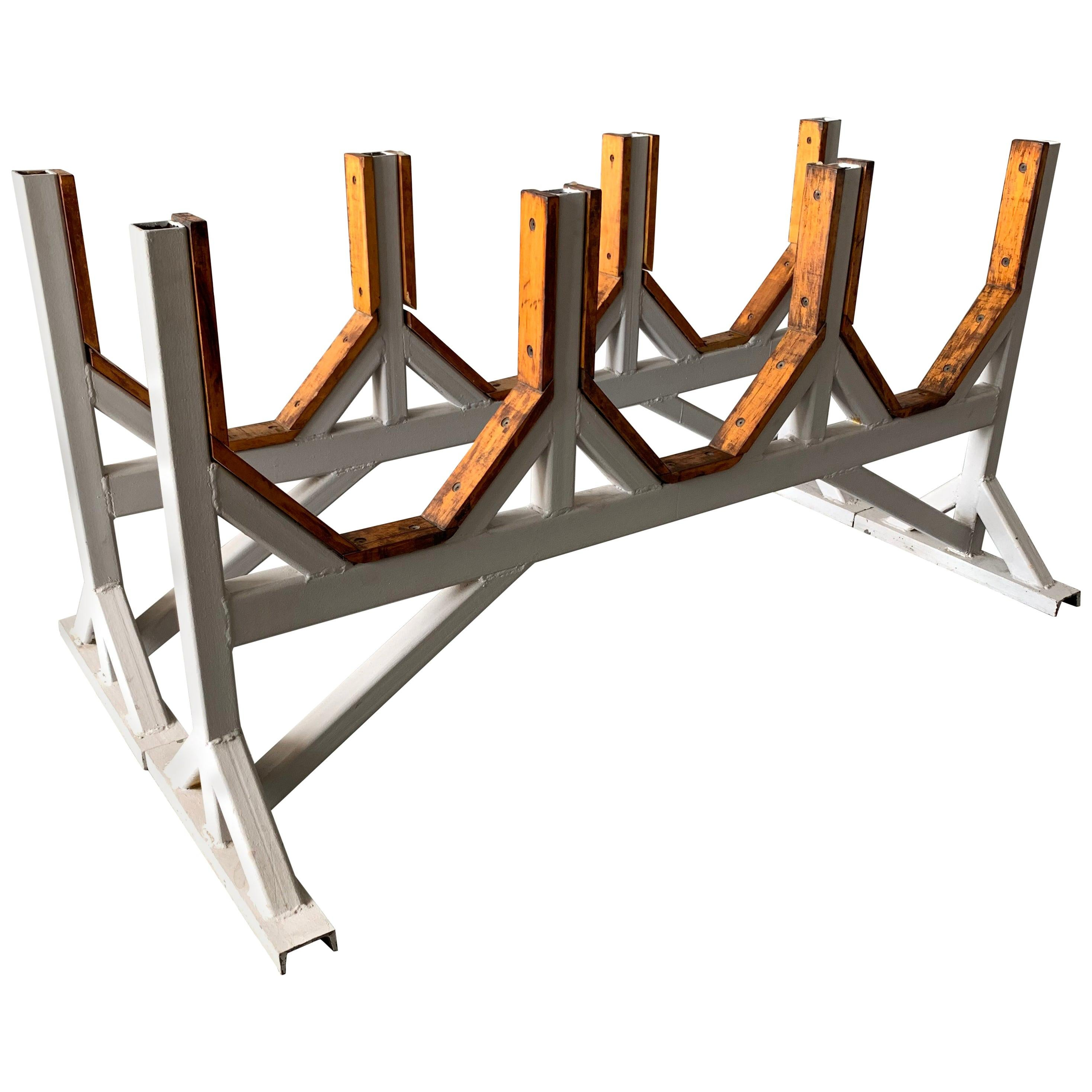 Two Customizable Industrial Metal And Wood Dining Room Table Bases