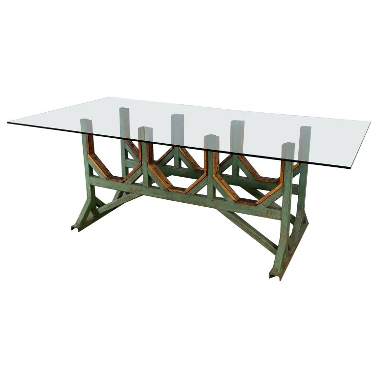 Two Customizable Metal And Wood Dining Room Table Bases
