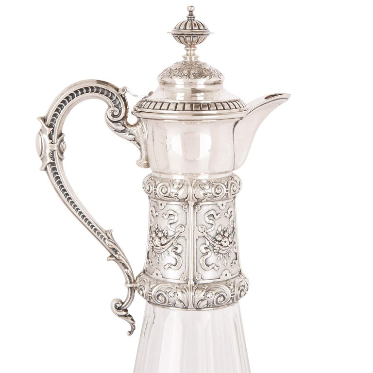 Rococo Two Cut Glass and Silver Claret Jugs, 19th Century For Sale