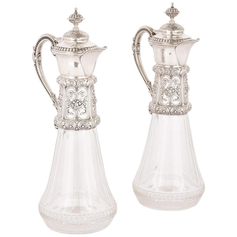 Two Cut Glass and Silver Claret Jugs, 19th Century For Sale