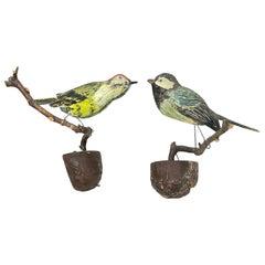 Two Cute Vichtauer Hand Carved Wood Birds, Black Forest Folk Art, Austria 1860s