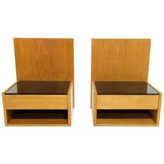 Two Danish 1960s Floating Bedside Nightstands in Oak and Glass by Hans Wegner