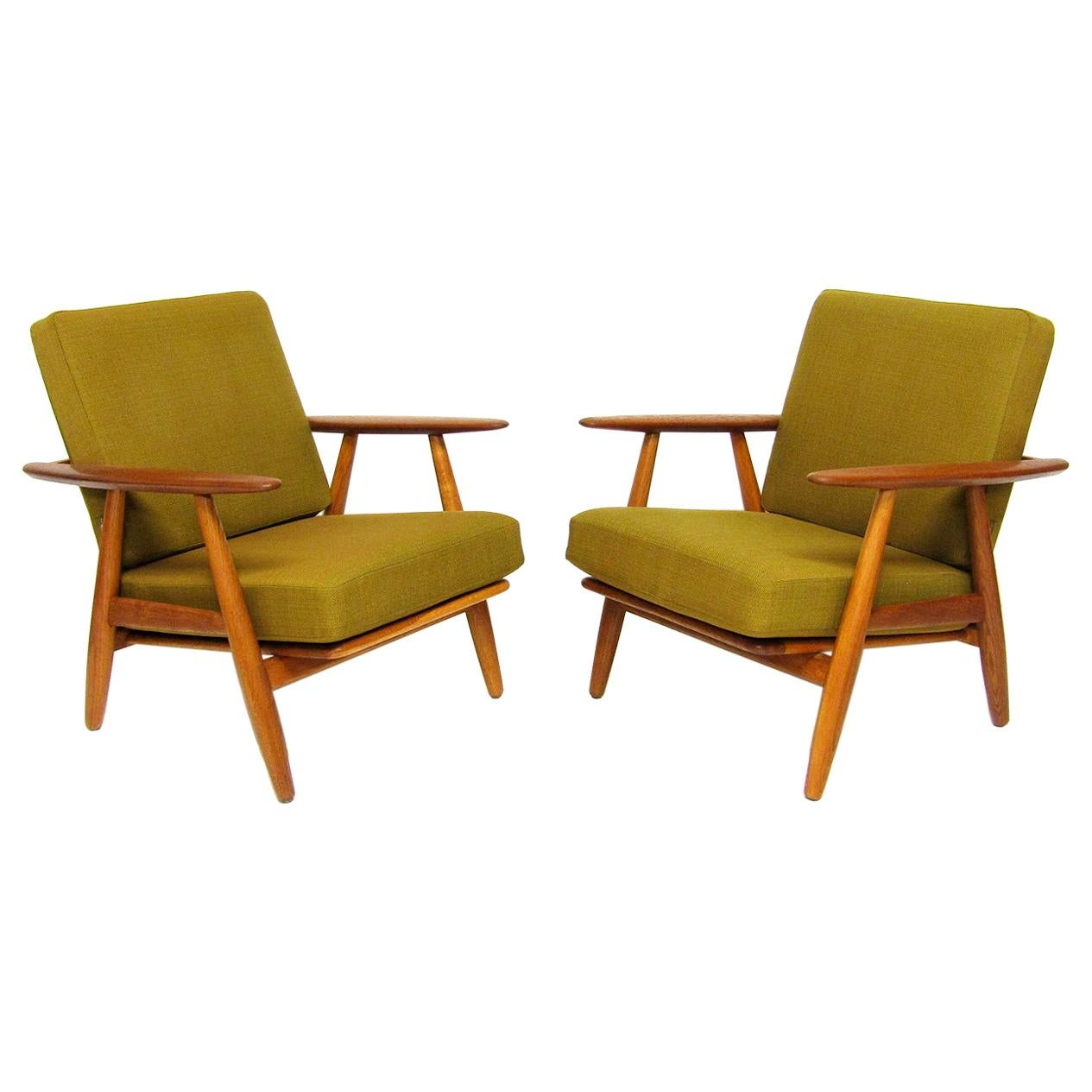 Two Danish 1960s GE-240 Cigar Chairs by Hans Wegner for GETAMA