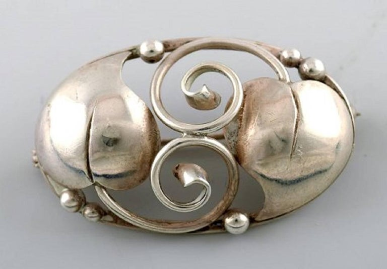 Art Deco Two Danish Brooches in Silver, 1930s For Sale