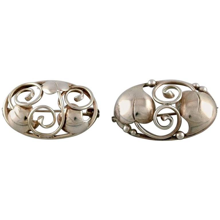 Two Danish Brooches in Silver, 1930s For Sale