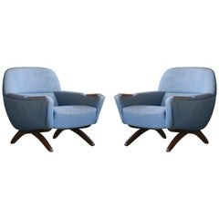 Two Danish Midcentury Leif Hansen Model Geisha Lounge Chairs with Rosewood