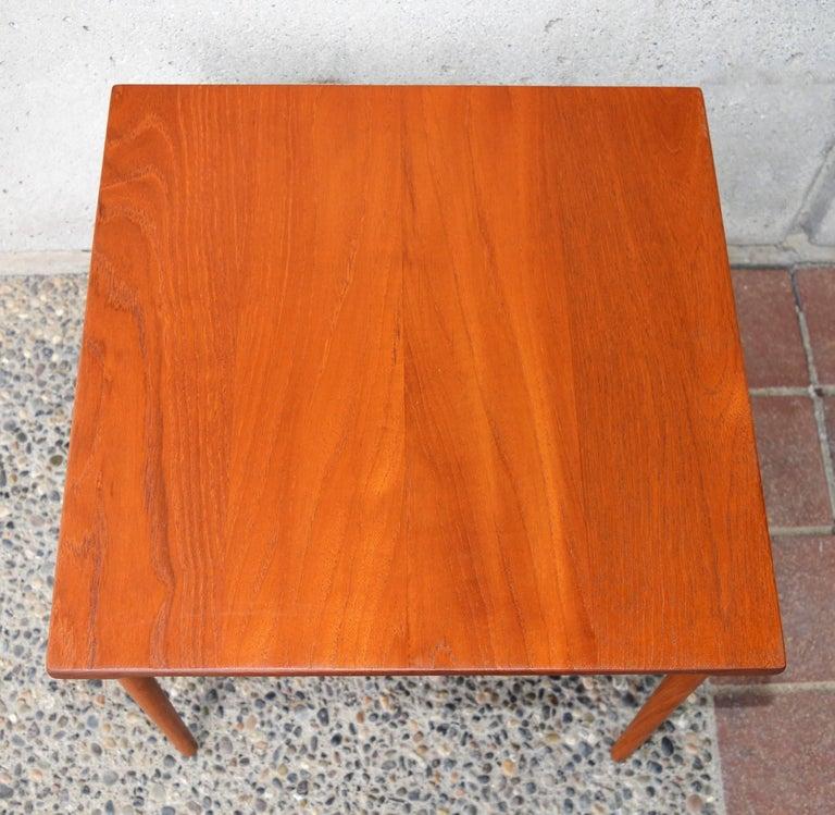 Steel Two Danish Modern Solid Teak 1960s Square Side Table by Hvidt & Mølgaard-Nielsen For Sale