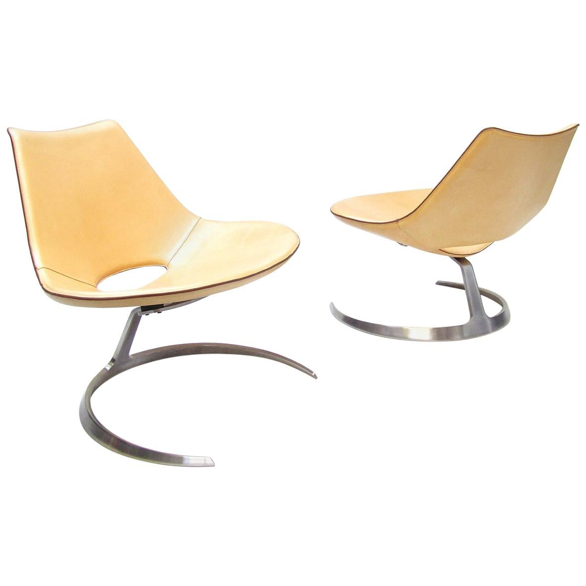 Two Danish Scimitar Chairs by Preben Fabricius & Jørgen Kastholm for Bo-Ex