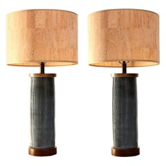 Two Dark Gray Ceramic Cylinder-Shape Lamps