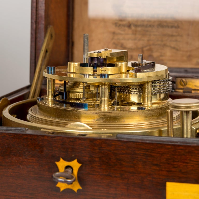 19th Century Mahogany Cased Two-Day Marine Chronometer by Widenham, London