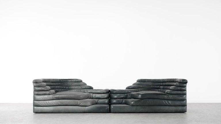 Mid-Century Modern Two De Sede, Terrazza Sofa, Black Leather by Ubald Klug & Ueli Berger in 1972 For Sale