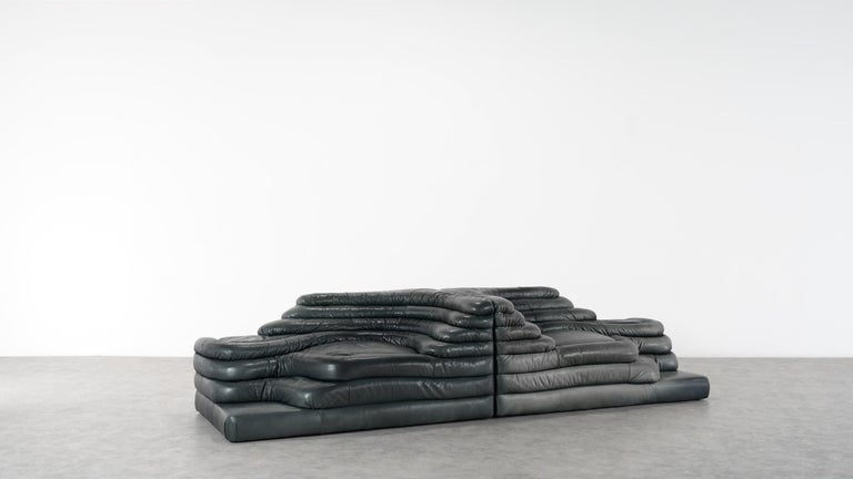 Late 20th Century Two De Sede, Terrazza Sofa, Black Leather by Ubald Klug & Ueli Berger in 1972 For Sale