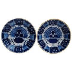 Two Delft Peacock Plates, Dutch 18th Century