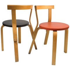 Two Distressed Alvar Aalto 68 Chairs