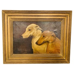 Two Dogs Side Portrait Oil on Canvas Painting, Framed and Signed