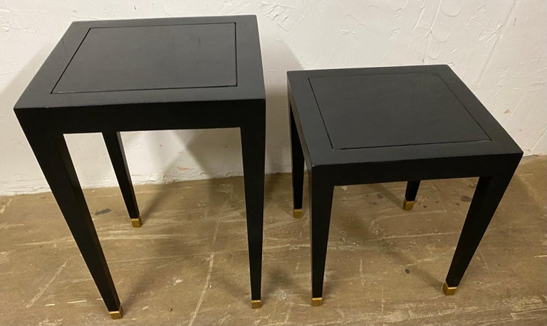 Lacquered Two Donghia Madrid Square Side Tables For Sale