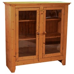 Two-Door Antique Bookcase, Victorian Pine Glazed, circa 1900