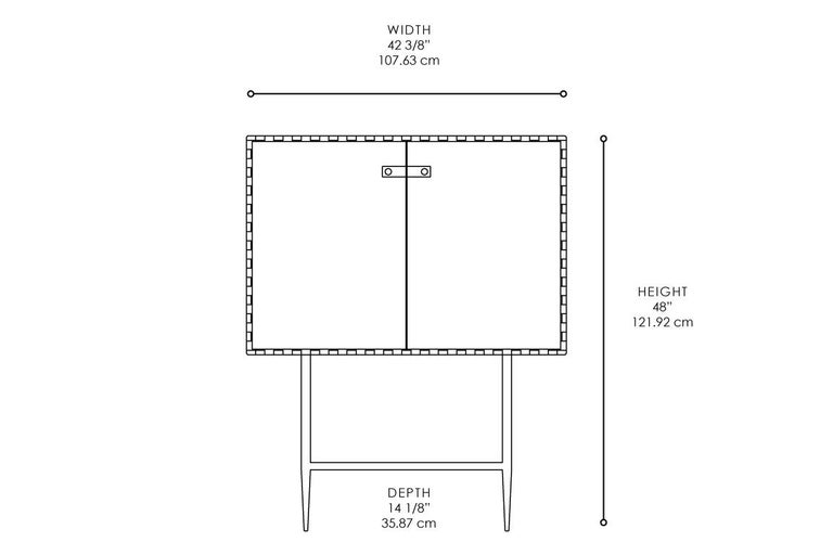 Metal Two-Door Bar with Interlocking System Wood Hinged Panels For Sale