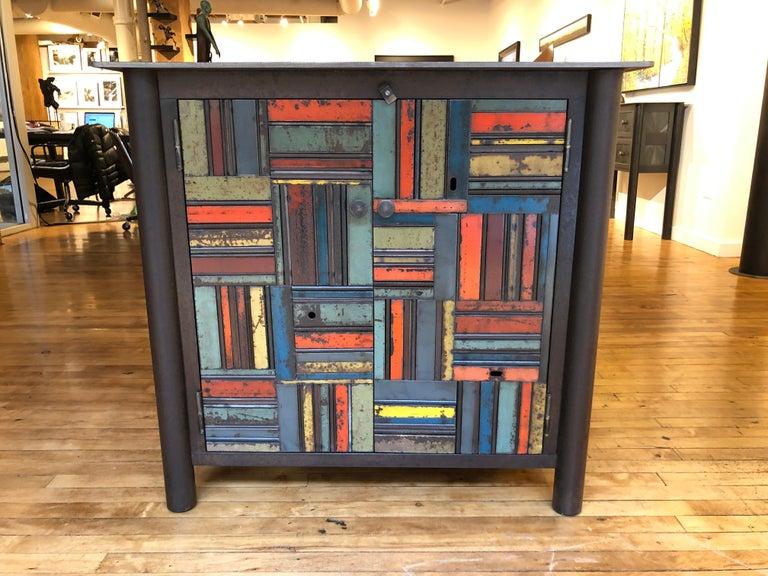 Mid-Century Modern Jim Rose Two-Door Basket Weave Quilt Cupboard, Functional Art Steel Furniture For Sale