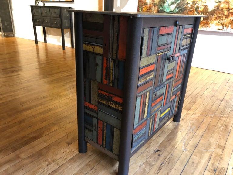American Jim Rose Two-Door Basket Weave Quilt Cupboard, Functional Art Steel Furniture For Sale