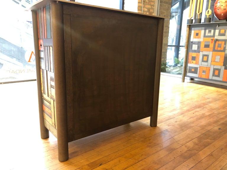 Welded Jim Rose Two-Door Basket Weave Quilt Cupboard, Functional Art Steel Furniture For Sale