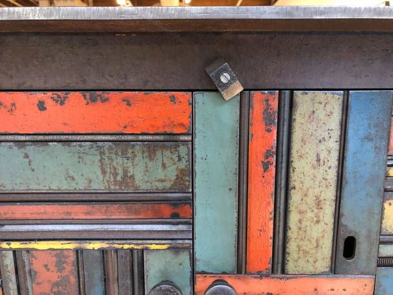 Jim Rose Two-Door Basket Weave Quilt Cupboard, Functional Art Steel Furniture In New Condition For Sale In Chicago, IL