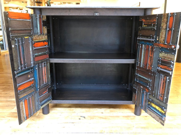 Contemporary Jim Rose Two-Door Basket Weave Quilt Cupboard, Functional Art Steel Furniture For Sale