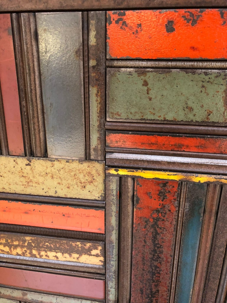 Jim Rose Two-Door Basket Weave Quilt Cupboard, Functional Art Steel Furniture For Sale 1