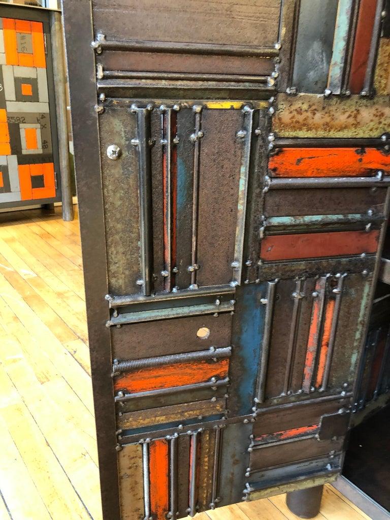 Jim Rose Two-Door Basket Weave Quilt Cupboard, Functional Art Steel Furniture For Sale 2
