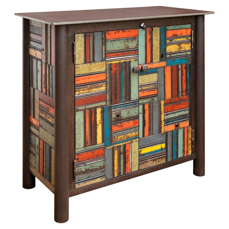 Jim Rose Two-Door Basket Weave Quilt Cupboard, Functional Art Steel Furniture For Sale