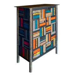 Two-Door Basket Weave Quilt Cupboard, Functional Art Steel Furniture