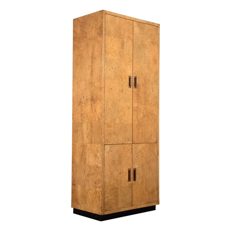 Two-Door Burled Wardrobe by Henredon, circa 1970s For Sale