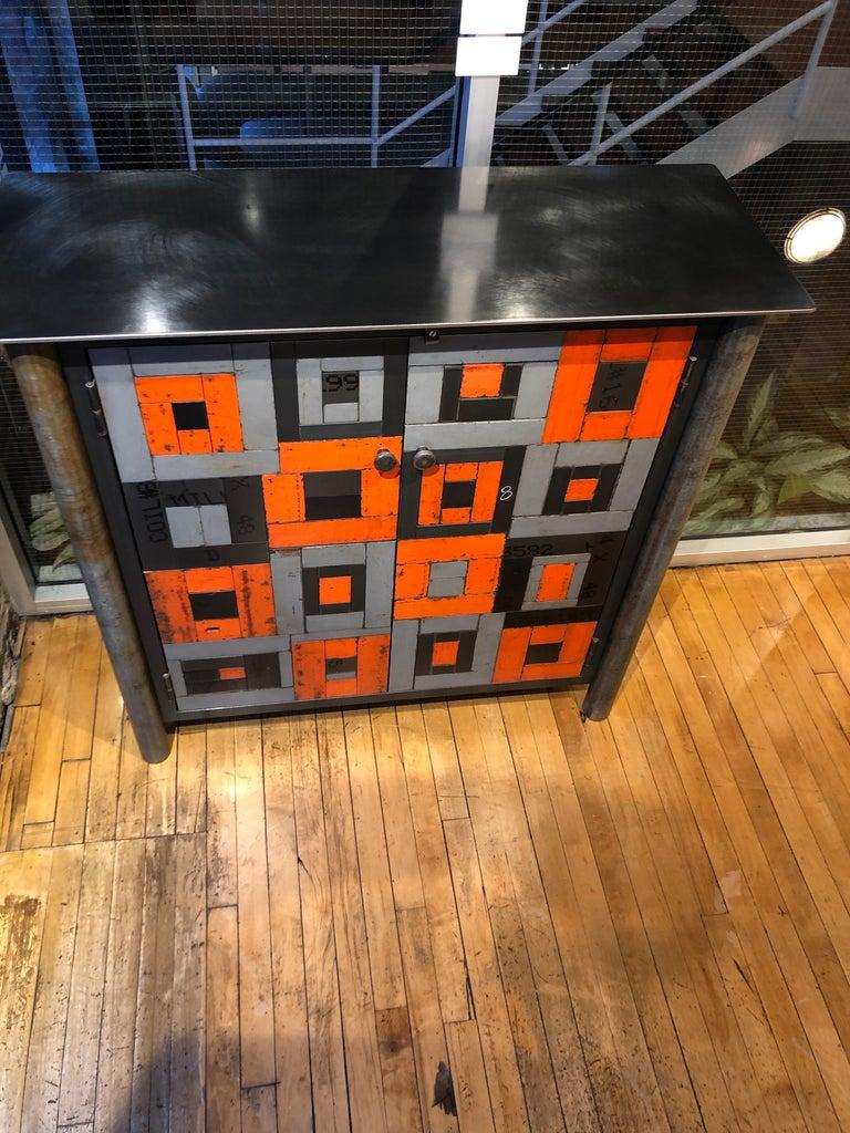 Two Door Housetop Gee's Bend Quilt Cupboard - Functional Art Steel Furniture  For Sale 5