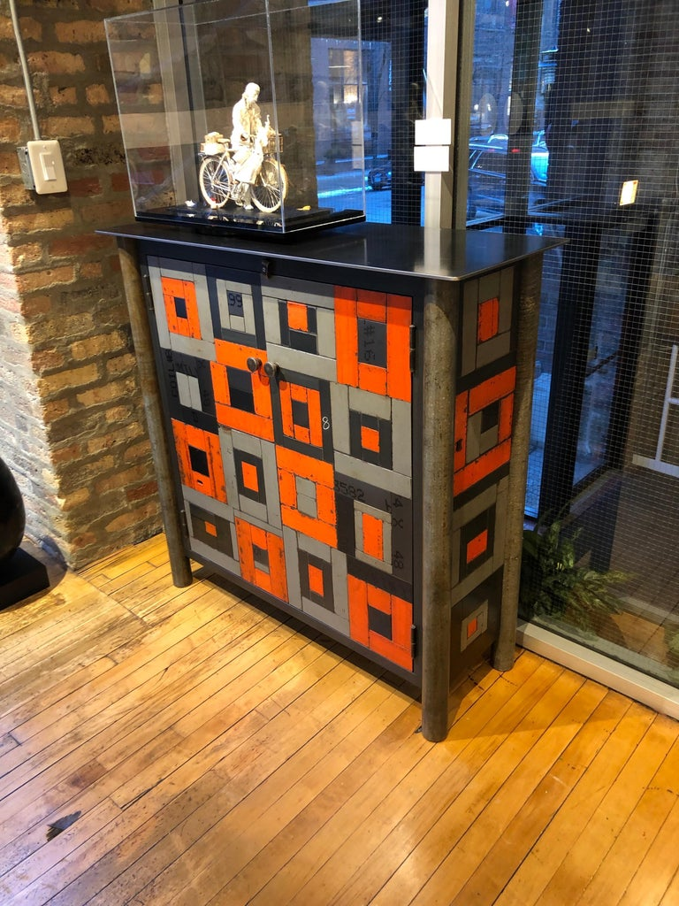 Shaker Two Door Housetop Gee's Bend Quilt Cupboard - Functional Art Steel Furniture  For Sale
