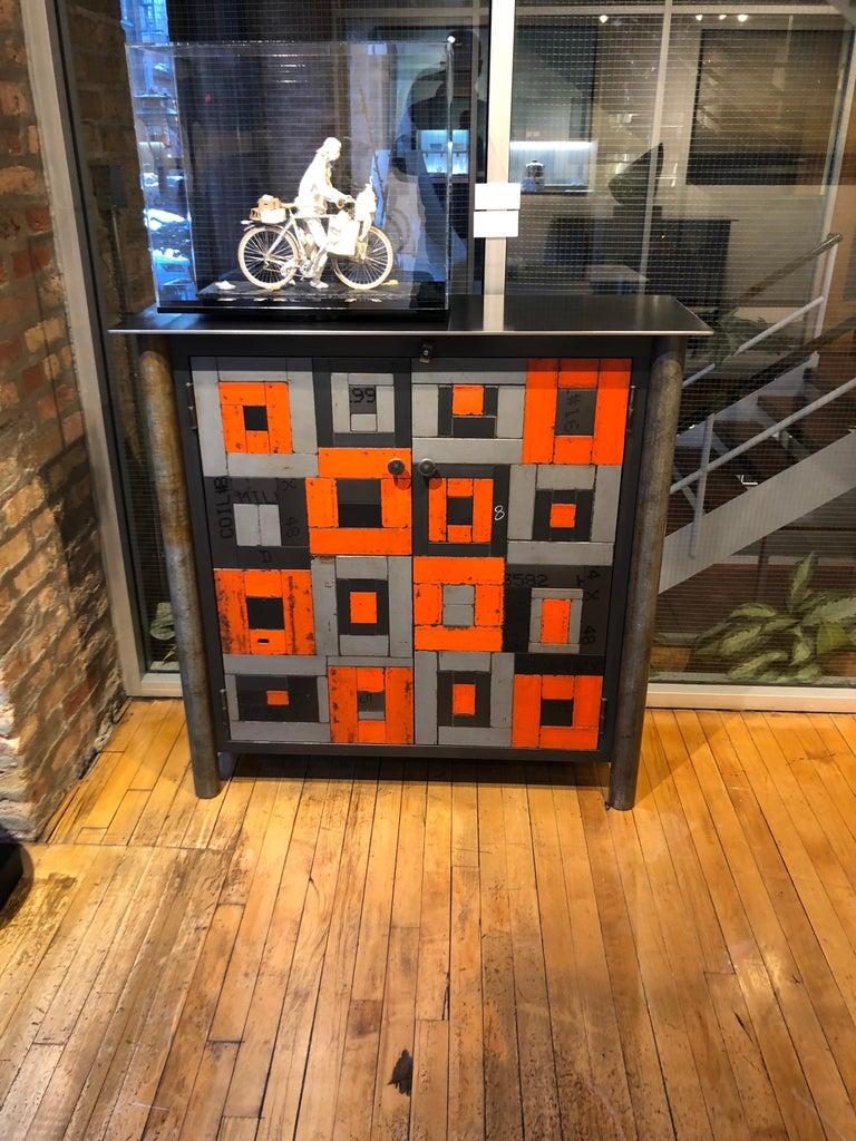 Welded Two Door Housetop Gee's Bend Quilt Cupboard - Functional Art Steel Furniture  For Sale