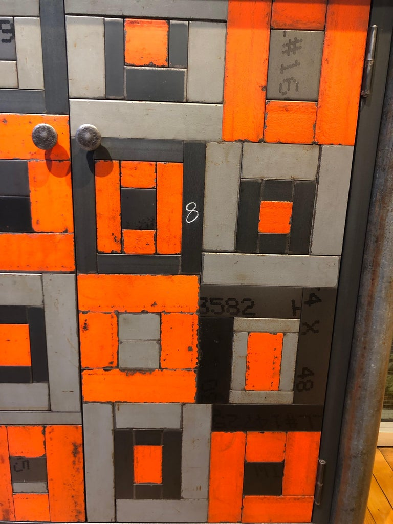Two Door Housetop Gee's Bend Quilt Cupboard - Functional Art Steel Furniture  In New Condition For Sale In Chicago, IL