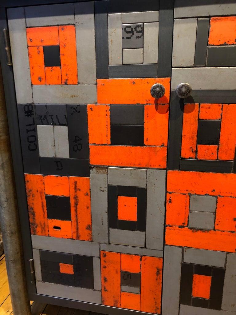 Contemporary Two Door Housetop Gee's Bend Quilt Cupboard - Functional Art Steel Furniture  For Sale