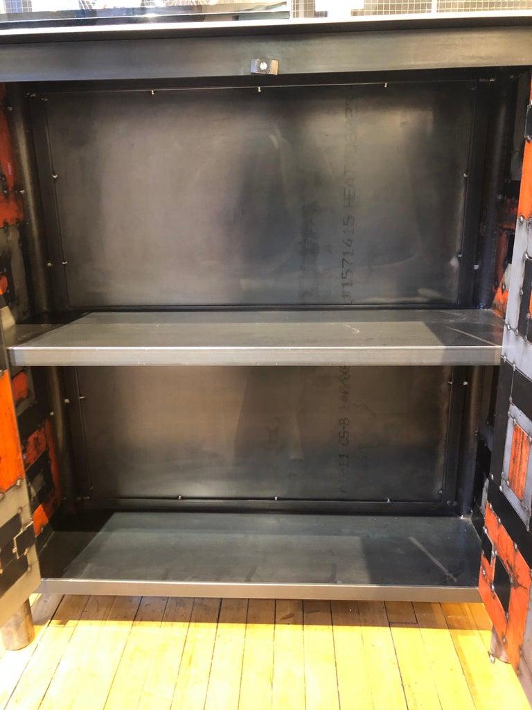 Two Door Housetop Gee's Bend Quilt Cupboard - Functional Art Steel Furniture  For Sale 1