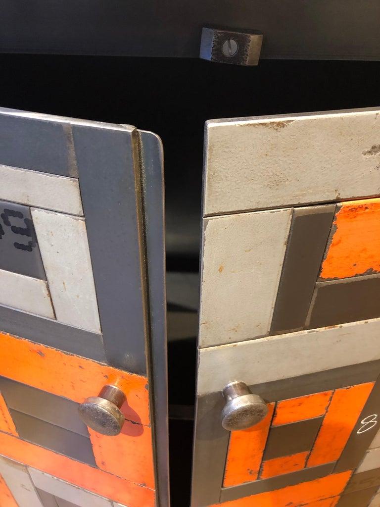 Two Door Housetop Gee's Bend Quilt Cupboard - Functional Art Steel Furniture  For Sale 2