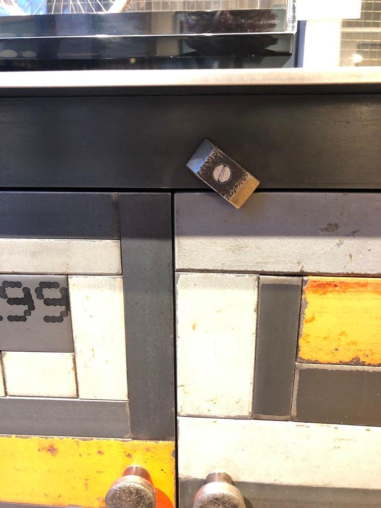Two Door Housetop Gee's Bend Quilt Cupboard - Functional Art Steel Furniture  For Sale 3