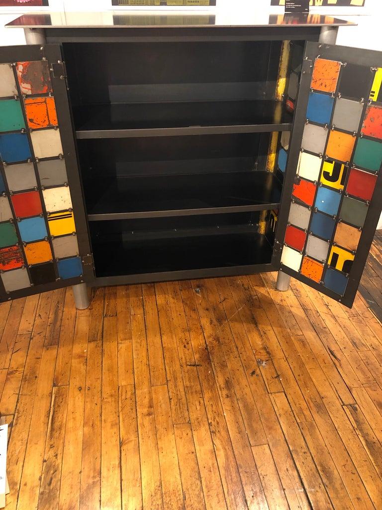 Shaker Jim Rose Two-Door Multicolor Block Quilt Cupboard, Steel Art Furniture For Sale