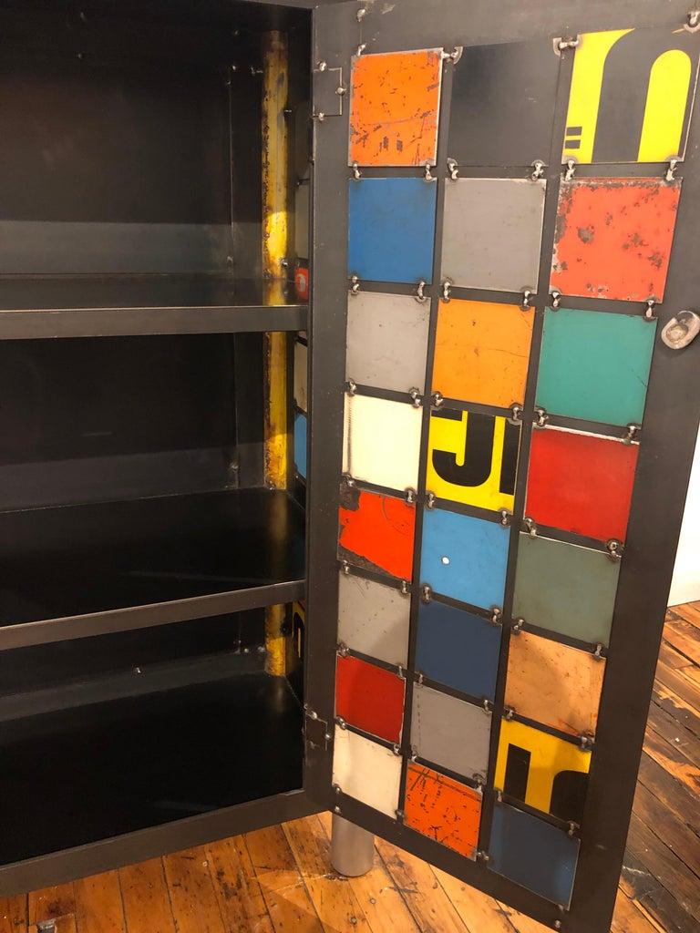 American Jim Rose Two-Door Multicolor Block Quilt Cupboard, Steel Art Furniture For Sale