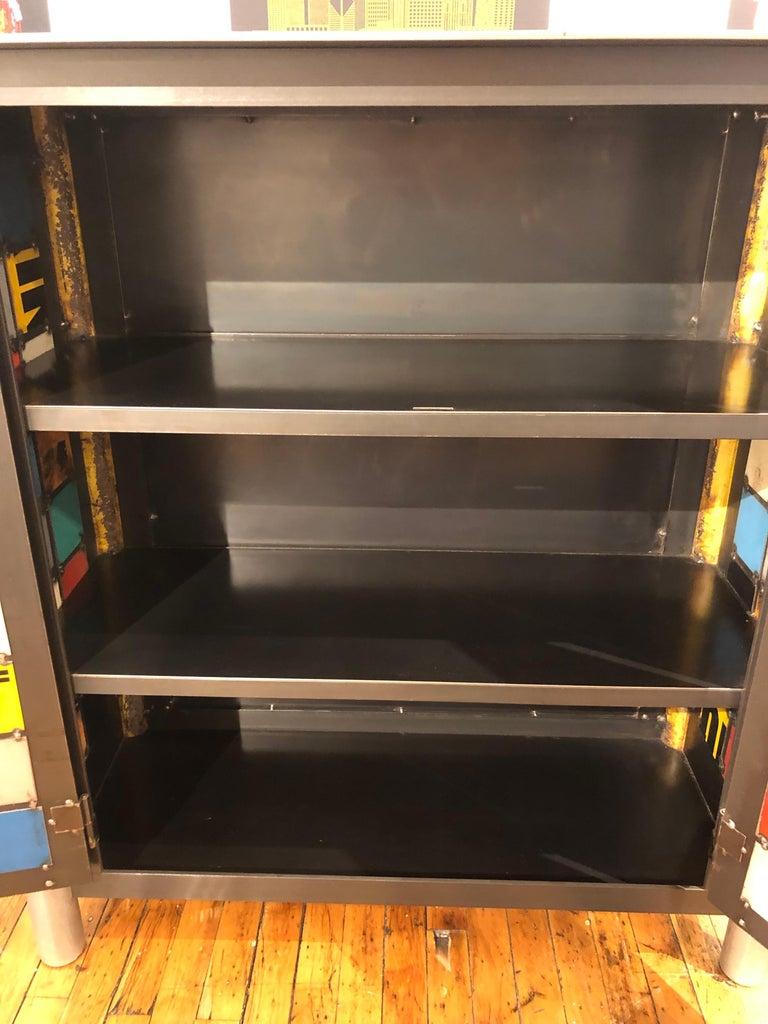 Welded Jim Rose Two-Door Multicolor Block Quilt Cupboard, Steel Art Furniture For Sale
