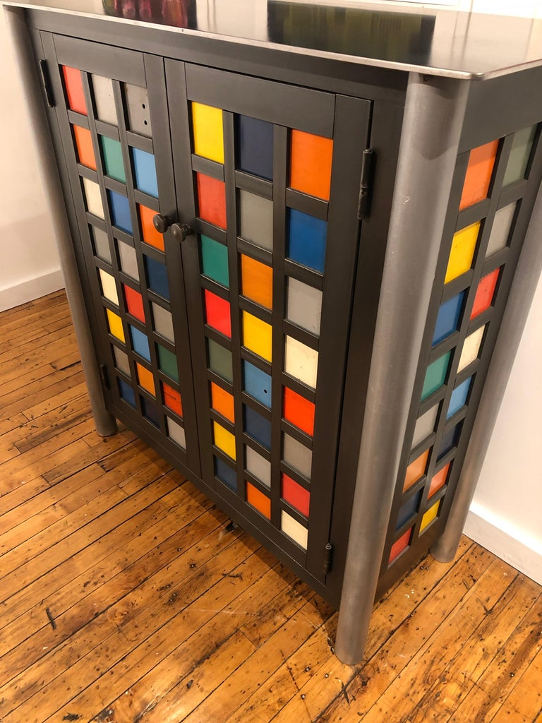 Jim Rose Two-Door Multicolor Block Quilt Cupboard, Steel Art Furniture In New Condition For Sale In Chicago, IL