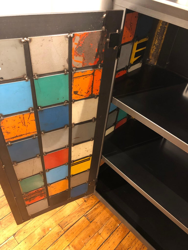 Contemporary Jim Rose Two-Door Multicolor Block Quilt Cupboard, Steel Art Furniture For Sale