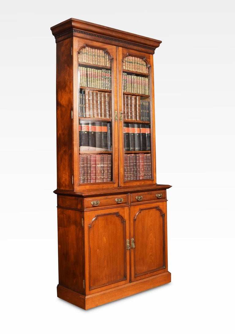 British Two-Door Narrow Walnut Bookcase