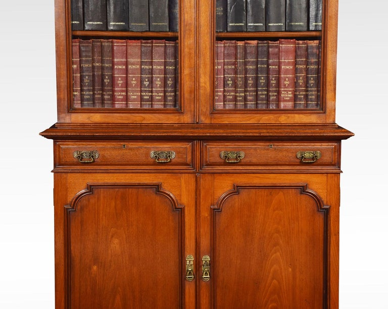 Two-Door Narrow Walnut Bookcase In Good Condition In Cheshire, GB