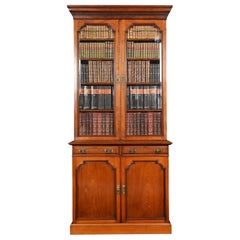 Two-Door Narrow Walnut Bookcase