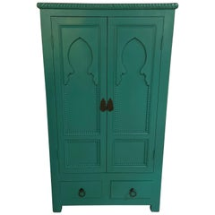 Emerald Green Chest Drawer or Cabinet Moroccan Taj Mahal Inspired Design