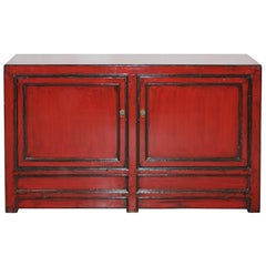 Rotes Zweitüriges Sideboard